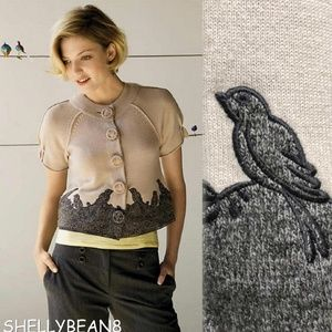 ANTHROPOLOGIE BIRDs On A Wire Cardigan Sweater S
